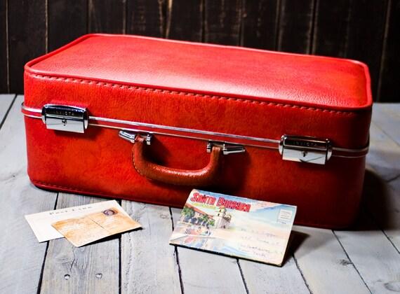Vintage suitcase, Invicta 1960s Orange Luggage, Invicta Suitcase, Photograpy props