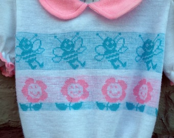 sweet vintage pastel girls sweater with bumble bees and flowers by bull frog knits