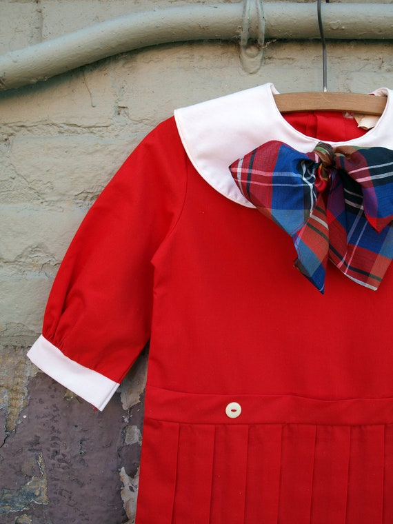 vintage red pleated scooter school girl dress with plaid bow and white peter pan collar