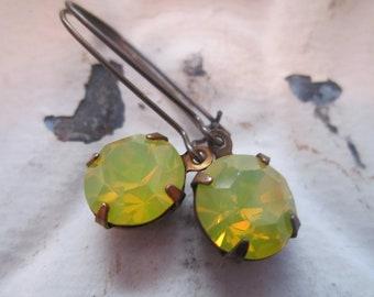 Yellow Opal Rhinestone Earrings Vintage Swarovski Yellow Opal Rhinestone Earrings Canary Yellow Rhinestone Earrings.