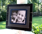 Distressed Black 8x10 Picture Frame with Double Wood Mats