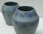 set of 2 pottery flower vases polka dotted handmade wheel-thrown grey, blue