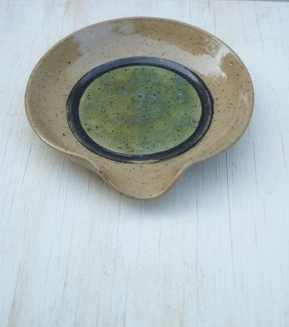 pottery spoon rest soap dish handmade wheel-thrown ceramic stoneware
