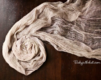 Taupe Newborn Cheesecloth Wrap Photography Prop Hand Dyed 3 ft x 6 ft RTS