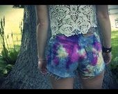 Tie Dye High Waisted Levi Jean Shorts