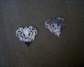 "Plated Brass Filigree Jewelry Finding ""laser lace"" in Bright Silver (2)"
