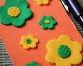 small A7 green and yellow flower fimo clay 100 page Notebook notepad memo orange