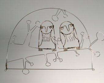 Owls in love - wire drawing, wire wall hanging, wire mobile, small gift, nature art.