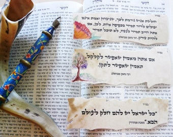 jewish proverbs on  parchment paper- little bookmarks -
