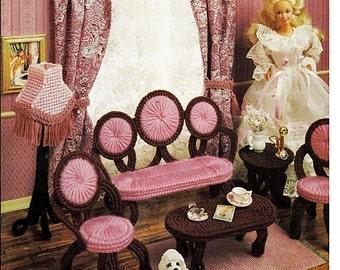 Victorian Fashion Doll Parlor Set Plastic Canvas Pattern Annies Attic 225K
