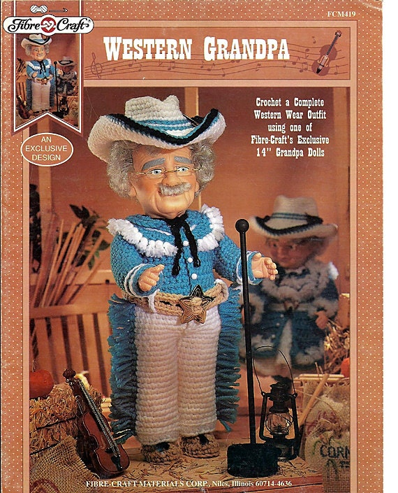 "Western Grandpa 14"" soft body or musical Doll Crochet  Pattern Fibre Craft  FCM 419"