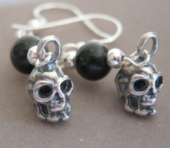 Death and The Maiden Genuine Jet and Sterling Silver Skull Charm Earrings