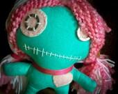 Turquoise, Pink & White VooDoo-ish Doll, Jasmine Skye