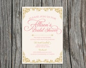 Custom, Printable Bridal Shower Invitation- Pretty in Pink