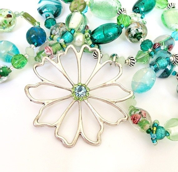 Emerald green silver flower long beaded necklace aqua mint handmade
