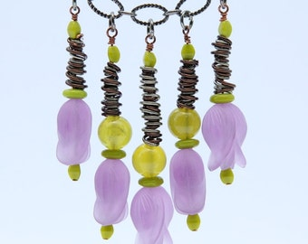 Beaded Necklace, purple necklace, chain necklace, short necklace, flower necklace: Lilac and chartreuse