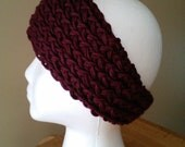 Womans Burgandy Knit soft ear warmer headband Tapered