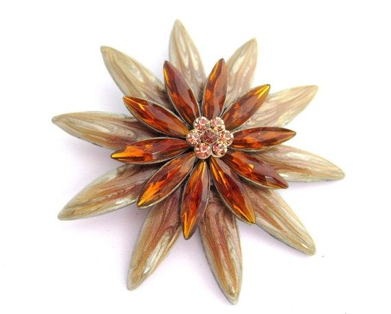 Amber Glass Flower Brooch 1960s Vintage Jewelry
