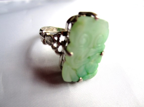 Chinese Art Deco Ring Sterling Silver Jade 1920s Vintage Jewelry Great Gatsby