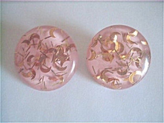 Confetti Lucite Earrings Pink 1960s Vintage Jewelry