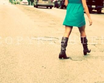 urban girl crossing street color print