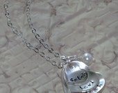Custom Personalized Hand Stamped Cupped 'A Mother's Heart' Sterling Name Brag Mommy Necklace