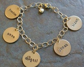 Custom Personalized Gold Filled Classic Charm Hand Stamped Mother's Bracelet Five Charms