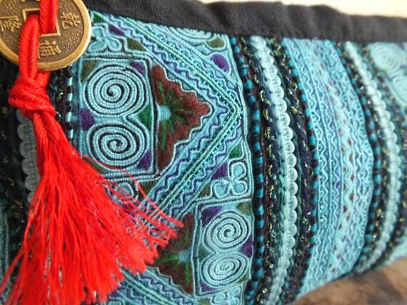 Ethnic Vintage Hmong Wallet purse- Handbag totes bohemian, tribal purses-from Thailand