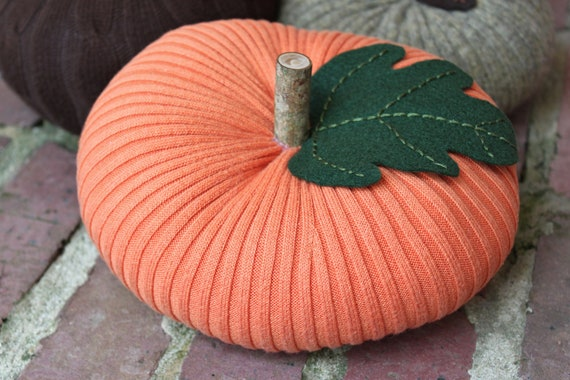 "Upcycled Orange Ribbed Sweater Pumpkin 4""x8"", Fall Decor (Item 18)"