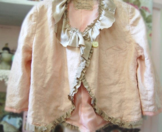 Dusty Pink Linen Jacket Romantic Shabby Altered Clothing Eco Prairie Girl Gypsy Fairy Boho Rustic Silk Taupe Large Layers Raw Edges