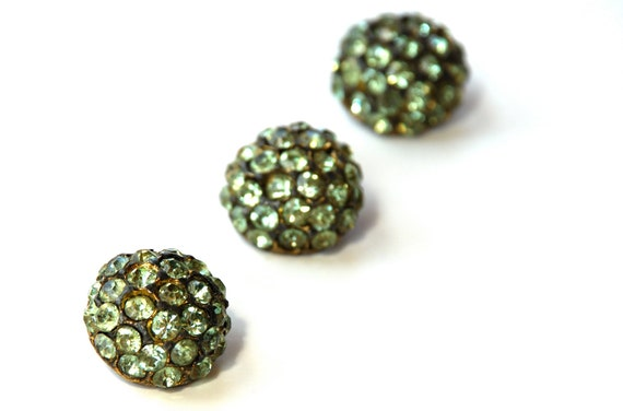 Vintage Rhinestone Buttons Three Peridot Pot Metal Dome Buttons
