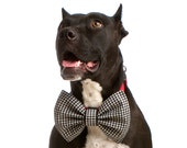 Houndstooth Bow Tie Attachment for Dogs (In Black and White)