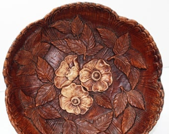 Vintage 1950s, Multi Products, faux wood, Floral Bowl