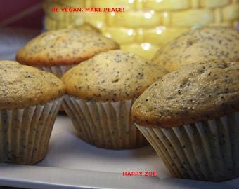 Vegan Lemon Poppy Seed muffins, love,natural,healthy,wedding,birthday.