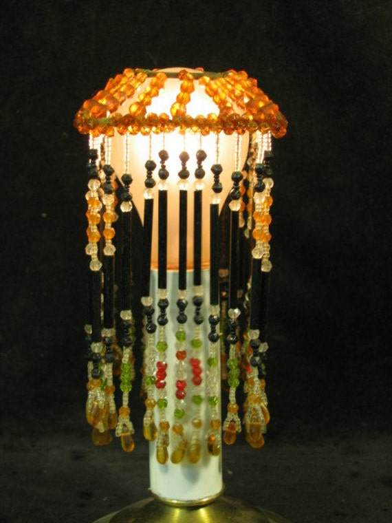 Set of Four 1920's Antique Fringed Glass Bead Lamp Shades