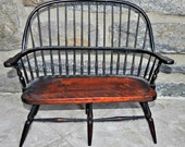 Antqued Pattina Doll Wooden Side Double Bench Chair