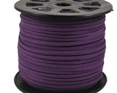 5 yards dark plum purple faux suede cord 3mm wide