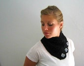 Black Button Neckwarmer - Recycled Yarn, FREE SHIPPING