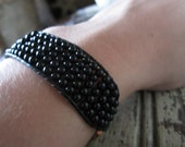 SALE Black Onyx Cuff Bracelet on Black Leather