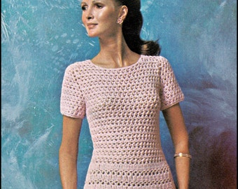 "No.227 PDF Vintage Crochet Pattern Women's Lacey Tea Dress - Instant Download - Retro Crochet Pattern - Bust Sizes 35"", 37.5"", 41"""