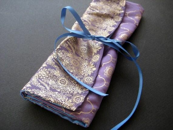Silk Brocade Jewelry Roll Up Bag / Medicine Bag