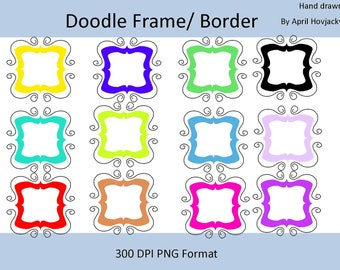 12 Frame Clip Art Set, Creative Digital clipart borders for scrapbooking, card making, invitations, label, cards