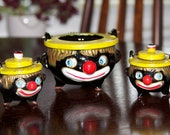 Black Americana Vintage Clown Grease Pot with Salt and Pepper Shakers