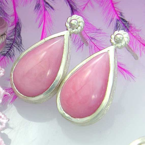 Pink peruvian opal earrings in sterling silver - ready to ship now
