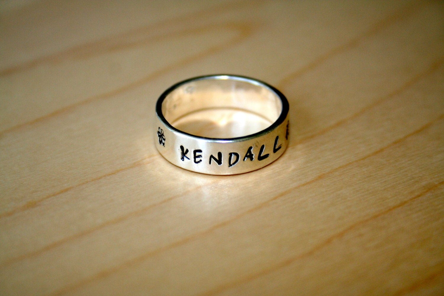 Sterling Silver Hand Stamped Personalized Ring - US Whole Sizes 5 through 9