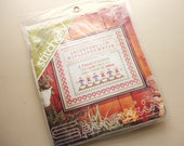 "vintage ""friends"" cross stitch sampler kit by spinnerin"