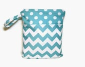 12x15 Wet bag chevron aqua blue polka dots waterproof cloth diaper zipper medium swim bathing suit pool beach boy girl wetbag