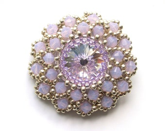 Brooch, Beaded Swarovski Lilac Opal Crystals, Beaded Statement Lilac Brooch