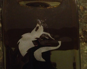 Huskies Husky Etched Amber Glass Wine Bottle Cheese Tray Platter