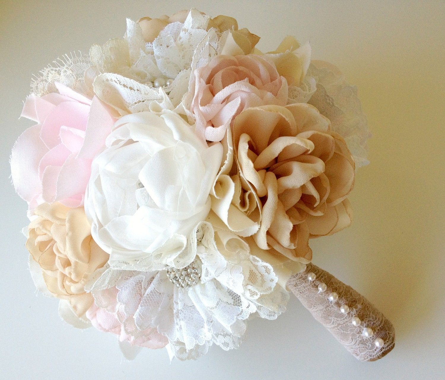 Custom Fabric Flower Bouquet Vintage Weddings Peony By